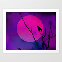 The Crow And The Pink Moon Art Print by minx267