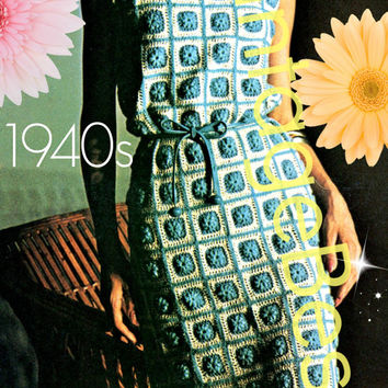 Crochet Dress PATTERN - Dress of Blocks - 1940s Lady's Dress Granny Square Dress Vintage Summer Wear Instant Download PDF Pattern