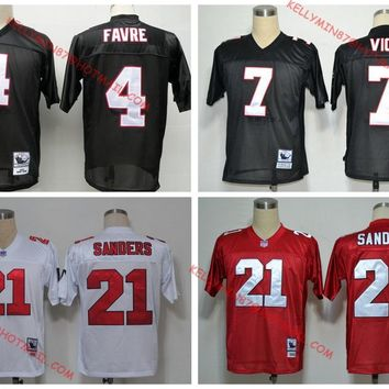 100% Stitiched,Atlanta  ,Deion Sanders,brett favre,Vick,Throwback for men Jersey