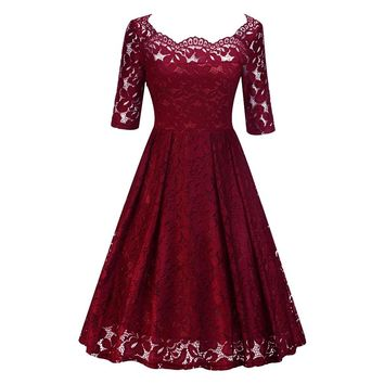 Women's Vintage Half Sleeve Slash Neck Floral Lace Formal Dress Cocktail Party Dresses Robe Vestidos