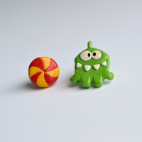 Om nom cut the rope earrings