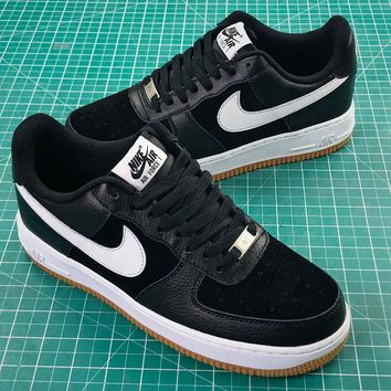 Nike Air Force 1 Low Af1 Black White Yellow Sport Shoes - Best Online Sale
