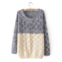 Mixed Color Knit Sweater for Women -DS