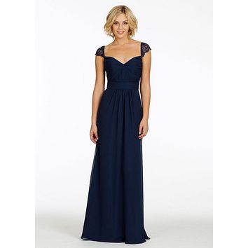 Elegant 2016 New Formal Prom Dresses A Line Sweetheart Neckline Floor Length Chiffon Navy Blue Bridesmaid Dresses