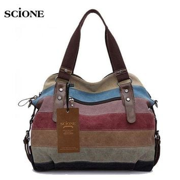 CREY3F Multi-purpose Outdoor Sports Gym Fitness Bags Rainbow Patchwork Canvas Tote Handbag Shoulder Crossboyd Bags Women Duffel XA31A