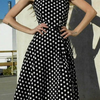 Vintage Sleeveless Polka Dot Bowknot Embellished Dress