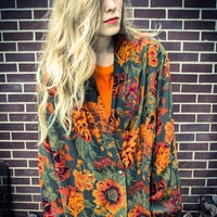 Vintage Orange Green Floral Sheer Oversized Jacket Robe Cardigan