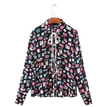 Women cute sticker pattern blouse bow tie neck peter pan collar sweet long sleeve shirts casual office tops blusas LT1382