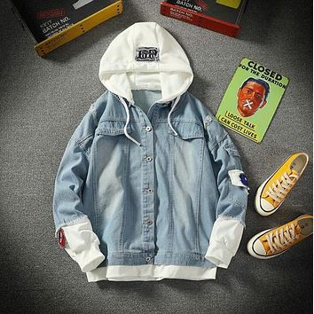 Spring and Summer Harajuku Fake Two-piece Denim Jacket Men's Plus Size Casual Hooded Jacket Korean Men's Clothing Thin Shirts Coats