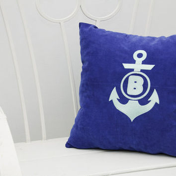Monogram Pillow Covers Nautical Anchor Custom Personalized Name Initial Pillow Cover Home Decor Monogrammed Throw Pillows Gift V3