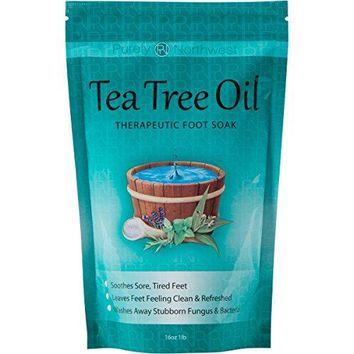 Tea Tree Oil Foot Soak w/Epsom Salt for Toenail Fungus, Athletes Foot, Foot Odor, Pain Relief–16 oz