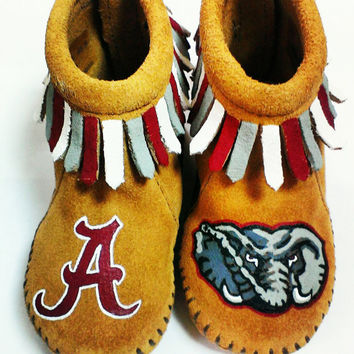 Custom Painted Alabama Crimson Tide Baby Moccasins