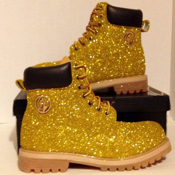 Baby Phat Scout Boots Custom Glitter Gold size 8