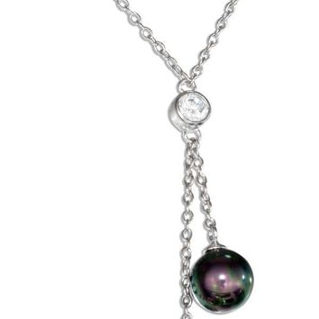 "STERLING SILVER 18"" CUBIC ZIRCONIA AND FAUX GRAY AND BLACK PEARL LARIAT NECKLACE"