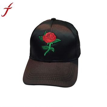 Rose Embroidery Baseball Cap Cool Men Women Caps Fashion Adjustable Couple Snapback Hip Hop Hats Floral Cap casquette homme Bone