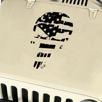 American Flag Punisher Skull Vinyl Decal Sticker fits: Jeep Wrangler JK TJ YJ