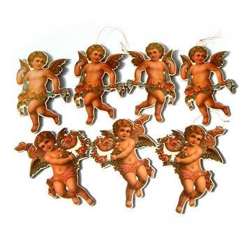 Vintage Set Christmas Ornaments , Victorian  Angels Christmas Tree Ornaments ,Set of 6 .