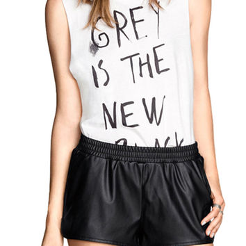 Black Elastic Waist Faux Leather Mini Shorts