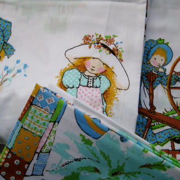 Vintage Holly Hobbie Bed Set Twin Size 3 Piece Flat Fitted Pillowcase American Greetings Girl Kid Bedding Decor Muslin Pequot NEW UNUSED