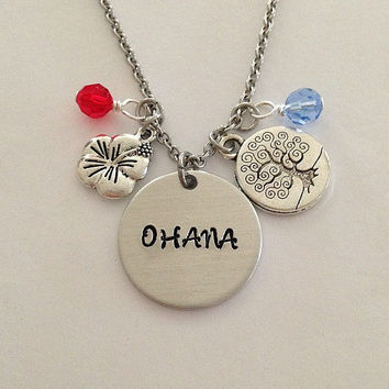 "Disney inspired Lilo and Stitch necklace ""OHANA"" hand stamped swarovski crystals charms"