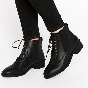 ASOS ALIS Leather Lace Up Ankle Boots at asos.com