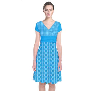 Simple Rectangular Pattern Short Sleeve Front Wrap Dress