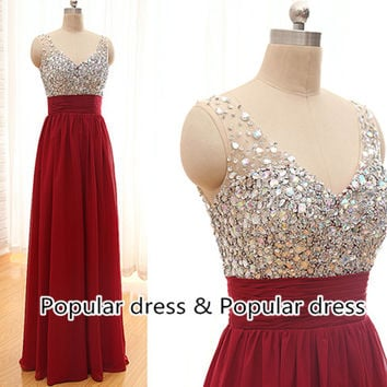 2014 Popular Prom Dress,Backless Prom Dress,Sexy Long Prom Dress,Red Bridesmaid Dress,Sweetheart Long Evening Dress/A025