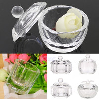 U119 Free Shipping Unique Clear Nail Art Acrylic Crystal Glass Dappen Dish Liquid Powder Container