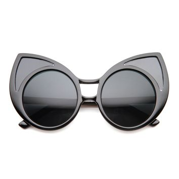 Women's Trendy Oversize Round Cat Eye Window Sunglasses 9766