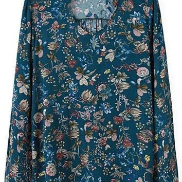 Blue Floral Print Long Sleeve Chiffon Blouse