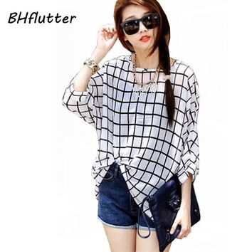 Novelty Plaid Floral Print Bat wing Sleeve Women's Summer Blouse/Shirt