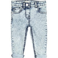 River Island Mini girls light denim acid wash skinny jeans