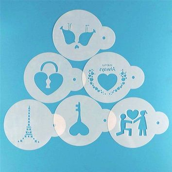 6Pcs/Set Reusable Couple Lock Key Shape Stencil Airbrush Painting DIY Home Decor Scrap booking Art Album Crafts Free Shipping