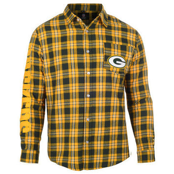 GREEN BAY PACKERS WORDMARK LONG SLEEVE FLANNEL SHIRT BY KLEW