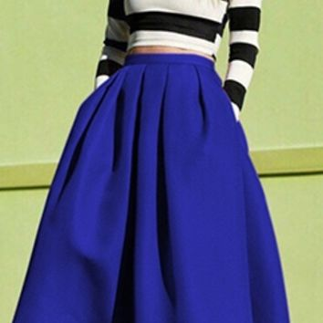 Blue Box Pleat Wide Circle A Line Flare Midi Skirt
