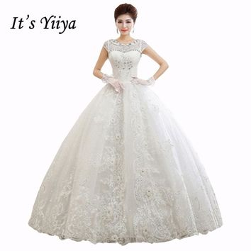 2017 Summer Vestidos De Novia Real Photo O-neck Short Sleeves Quality Wedding Dresses White Princess Bride Gowns plus size HS410