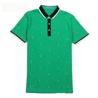Brand Polo Shirt Men New Summer Cotton Camisa Fashion Dots Print Camisa Polo Homme Short Sleeve Casual Shirts Turn-down Collar
