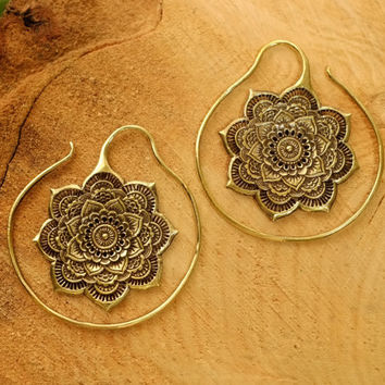 Tribal mandala earrings, ear weights lotus flower, hoops hoop earrings, plugs tunnels gauges, hippie gypsy indian gold, pair 14g 1.6mm