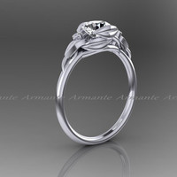 White Sapphire & Diamond Floral Engagement Ring