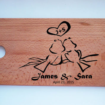 custom cutting board, wedding cutting board, cutting board, handmade, pyrography love birds, wood cutting board,Personalized,Custom Engraved