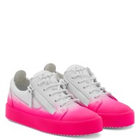 Giuseppe Zanotti Gz New Unfinished White Calfskin Leather Low-top Sneaker With Fuchsia Flocking Patina - Best Deal Online