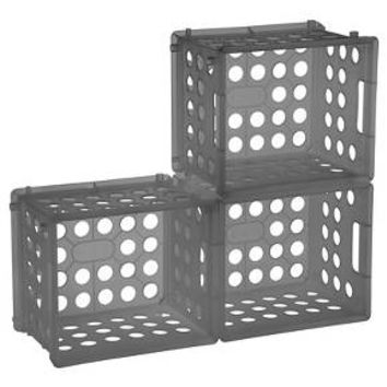 Set of 3 Mini Crate Storage Bins - Gray - Room Essentials™