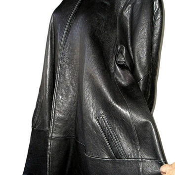 Vintage 80s BLACK Leather Swing Coat M to XL - Super Soft Leather