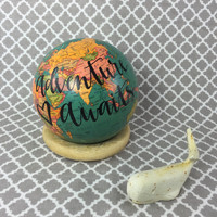 "Adventure awaits -mini 4"" desk world globe"