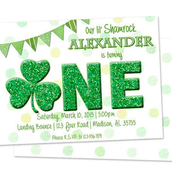 St Patricks Day 1st Birthday Invitation - Little Shamrock Invitations - St Pattys Birthday Party Invite - 1st Birthday Boy Girl Green March