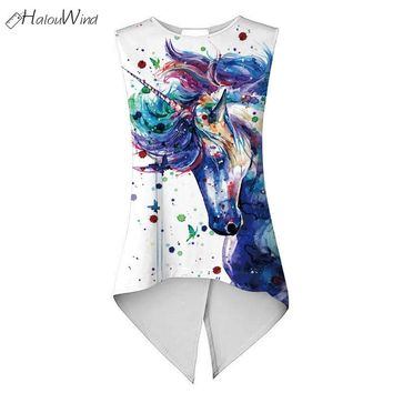Women Summer Unicorn Irregular Digital Printing Tank T Shirts Sleeveless Split Backless Casual T Shirts Cropped Tops Girl White