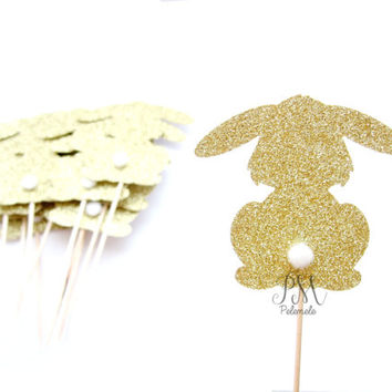 12 Glitter Bunny Rabbit Cupcake Toppers - Easter Cupcake Toppers, Easter decor, Easter rabbit cake toppers, Rabbit Cupcakes, Forest Party
