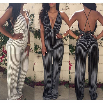 STRIPED HIGH WAIST DEEP V BACKLESS JUMPSUITS