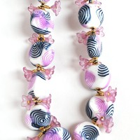 Purple and Navy Blue Swirl Beaded Necklace with Purple Trumpet flowers, Polymer Clay Beads, Fashion Jewelry