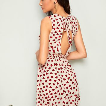 Allover Heart Tie Back Cut-out Sleeveless Dress
